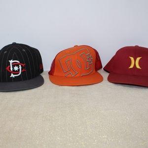 Lot of 3 Mens Hats DC Hurley